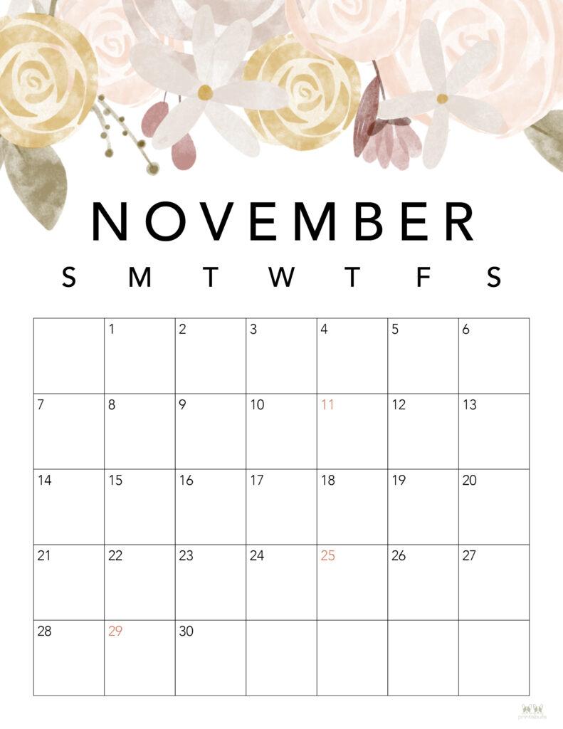 Printable November 2021 Calendar-Style 4