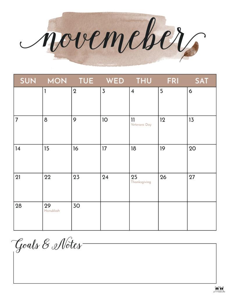 Printable November 2021 Calendar-Style 5