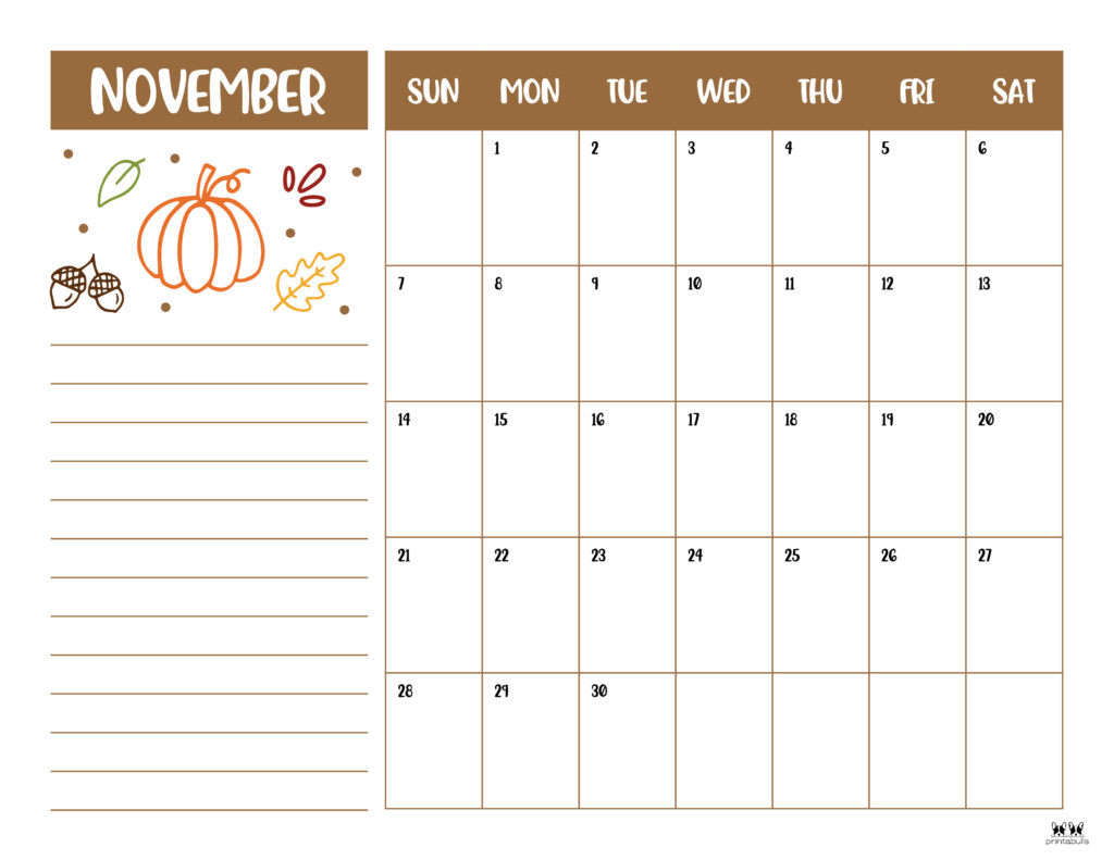 Printable November 2021 Calendar-Style 6
