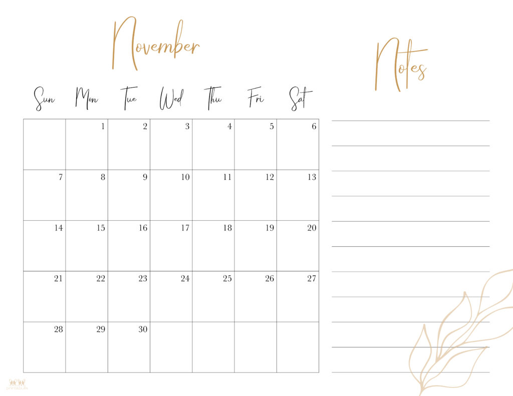 Printable November 2021 Calendar-Style 7